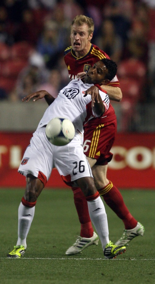 Kim Raff | The Salt Lake Tribune (back) Real Salt Lake Nat Borchers #6 and D.C. United player Lionard Pajoy #26 battle for the ball during a game at Rio Tinto Stadium in Sandy, Utah on September 1, 2012.