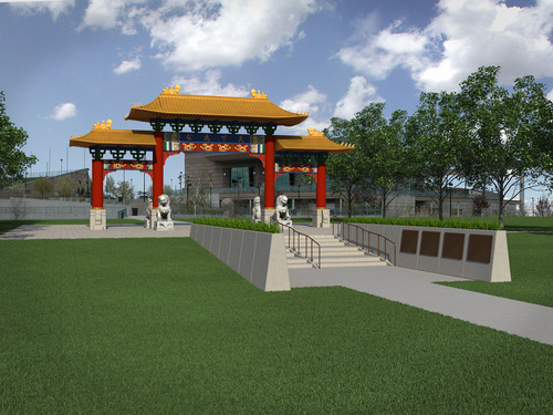 Illustration by Brent Bowen An illustration of the Chinese Heritage Gate that is being built at the Utah Cultural Celebration Center. The gate will be a symbol of friendship between West Valley City and Nantou, Taiwan.