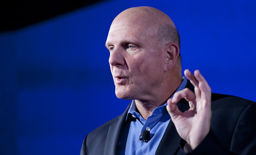 Steve Ballmer, CEO of Microsoft, discusses Nokia's newest smartphone, the Lumia 920, equipped with Microsoft's Windows Phone 8, Wednesday, Sept. 5, 2012 in New York. Nokia revealed its first smartphones to run the next version of Windows Wednesday, a big step for a company that has bet its future on an alliance with Microsoft. (AP Photo/Mark Lennihan)