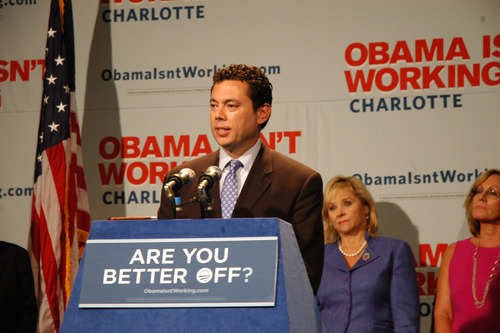 Leah Bryner | Courtesy Rep. Jason Chaffetz, R-Utah, speaks at a GOP press conference in Charlotte, N.C., countering the message put forth by Democrats at their national convention.