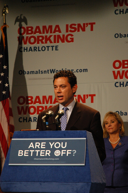 Leah Bryner | For the Salt Lake Tribune Rep. Jason Chaffetz, R-Utah, speaks at a GOP press conference in Charlotte, N.C., countering the message put forth by Democrats at their national convention.