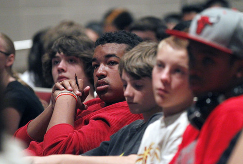 Al Hartmann     The Salt Lake Tribune Students at Salt Lake Center for Science Education listen to Columbia University professor Christopher Emdin Wednesday Septmeber 5 about how he incorporates hip hop music and culture into the study of science.