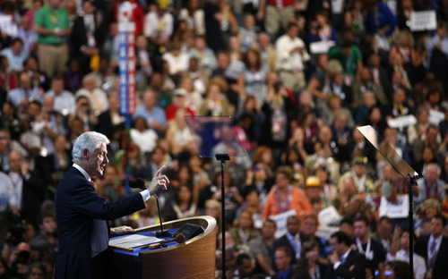 Former President Bill Clinton addresses the Democratic National Convention in Charlotte, N.C., on Wednesday, Sept. 5, 2012. (AP Photo/Jae C. Hong)