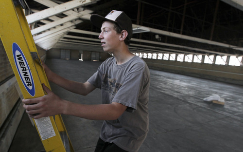 Al Hartmann  |  The Salt Lake Tribune Quinn Argyle, 15, is restoring the goat barn at the Utah State Fairpark for his Eagle Scout project. His father, Shane, put a price tag of at least $25,000 on the project.