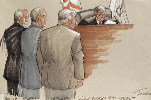 In this courtroom sketch, defense lawyers, Joel Brodsky, left, Steven Greenberg, and defendant Drew Peterson, right, stand before Presiding Judge Edward Burmila as he reads the verdict in Peterson's murder trial. after a jury convicted the former Bolingbrook, Ill., police officer of murdering his third wife, Kathleen Savio, in 2004. Peterson, the swaggering former suburban Chicago police officer who generated a media storm after his much-younger fourth wife, Stacy Peterson, vanished in 2007, was convicted in a case based mainly on secondhand hearsay statements from the two women.  (AP Photo/Tom Gianni)