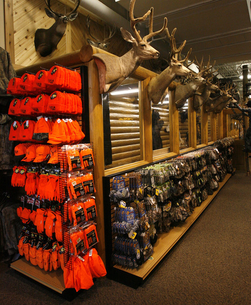 Rick Egan  | The Salt Lake Tribune   Hunting gear in the Scheels sporting goods store in Sandy.  Thursday, September 6, 2012.