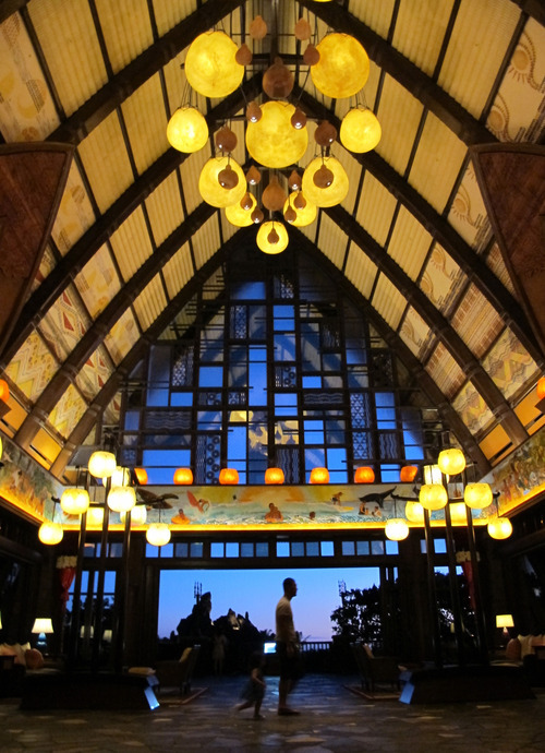The lobby atrium is seen at Disney's Aulani resort in Kapolei, Hawaii on Aug. 31, 2012. Many Hawaii resorts are edging away from kitschy marketing inventions and are instead turning to Hawaii's actual rich traditions to make trips special for travelers. (AP Photo/Audrey McAvoy)