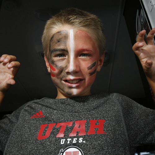 Scott Sommerdorf  |  The Salt Lake Tribune              Jaden Gines, of Bountiful, attends the tailgating party before the Northern Colorado game on Aug. 30, 2012.