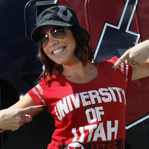 Scott Sommerdorf  |  The Salt Lake Tribune              Picturing Utes: Crystal Bueter, of Salt Lake City, attends the first tailgating party of the year prior to the Northern Colorado game.