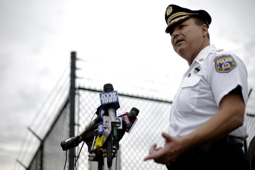 Philadelphia police Chief Inspector Joseph Sullivan speaks during a news conference near the Philadelphia International Airport Thursday, Sept. 6, 2012, in Philadelphia. A security scare that prompted authorities to recall an airborne U.S. flight was the result of an apparent hoax, police said Thursday. (AP Photo/Matt Rourke)