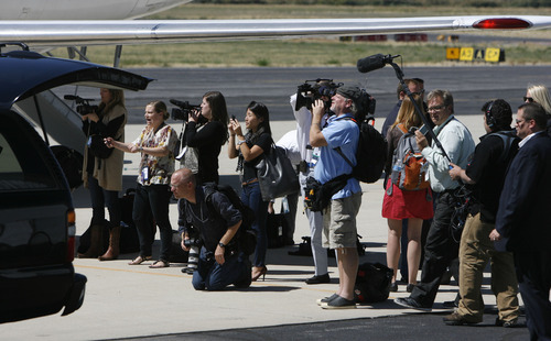Francisco Kjolseth  |  The Salt Lake Tribune The press corps traveling with Republican vice presidential nominee Paul Ryan arrives at the Provo Municipal Airport on Wednesday, Sept. 5, 2012, for a round of fundraising events.