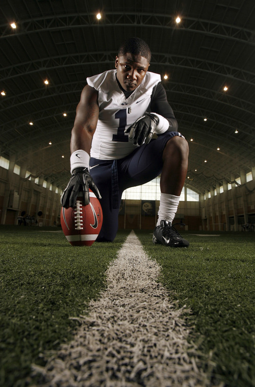 Francisco Kjolseth  |  The Salt Lake Tribune BYU safety Joe Sampson grew up in a tough neighborhood in Oakland, Calif., and we to two junior colleges before finally settling  down in Provo.