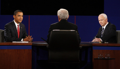 FILE - In this Oct. 15, 2008 file photo, then-Democratic presidential candidate Sen. Barack Obama, D-Ill., left, and Republican presidential candidate Sen. John McCain, R-Ariz., right, exchange responses as debate moderator Bob Schieffer listens during a presidential debate at Hofstra University in Hempstead, N.Y. Finally, the fall season delivers the matchup Americans have been waiting for, President Barack Obama goes one-on-one with Republican Mitt Romney in three prime-time debates. With the race a dead heat, the debates take on an oversized role in the few weeks between now and Election Day. One small mistake or impression _ a glance at a watch, repetitive sighing _ could roil the campaign for days and linger in voters' mind. This is especially true for two polished candidates who will have the soundbites and rhetoric down cool. (AP Photo/Ron Edmonds, File)