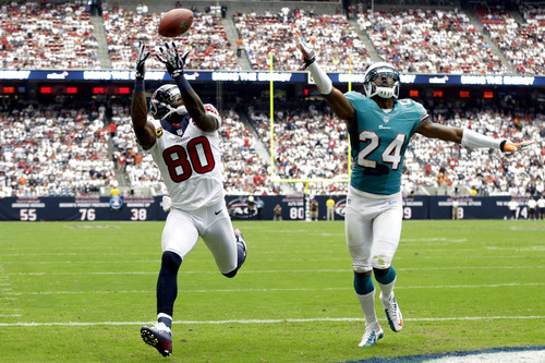 Houston Texans wide receiver Andre Johnson (80) catches a pass for a touchdown as Miami Dolphins cornerback Sean Smith (24) defends in the second quarter of an NFL football game, Sunday, Sept. 9, 2012, in Houston. (AP Photo/Eric Gay)
