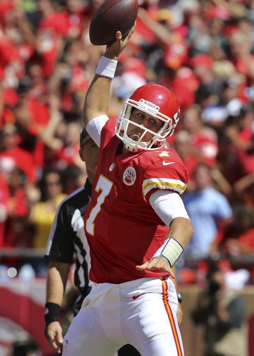 Kansas City Chiefs quarterback Matt Cassel (7) celebrates his touchdown during the first half of an NFL football game against the Atlanta Falcons at Arrowhead Stadium in Kansas City, Mo., Sunday, Sept. 9, 2012. (AP Photo/Ed Zurga)
