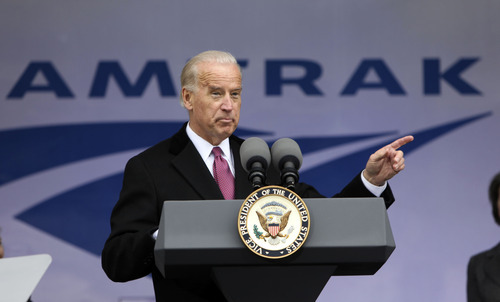 Pablo Martinez Monsivais     AP file photo FILE - In this March 13, 2009 file photo, Vice President Joe Biden announces funding for Amtrak, at Union Station in Washington. Warning to Amtrak from Mitt Romney and Republicans: You're on your own. The platform Republicans adopted at their convention includes a call for full privatization and an end to subsidies for the nation's passenger rail operator, which gobbled up almost $1.5 billion in federal funds last year.