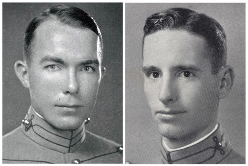 This photo combination of images provided by the U.S. Military Academy shows Capt. Donald B. Stewart, in 1940, left, and Lt. Col. John H. Van Vliet Jr., in 1937. Van Vliet and Stewart were among a group of British and American prisoners forced by the Germans to see a horrifying site, a mass grave where murdered Polish officers were buried, near Smolensk, Russia. The Soviet secret police killed the Poles in 1940, hoping to eliminate an elite that would have resisted Soviet control of Poland. The Germans wanted word to get out to the world of the Soviet atrocity. Newly declassified documents being opened to the public on Monday, Sept. 10, 2012, by the U.S. National Archives show that Van Vliet and Stewart sent coded messages to Washington after their visit saying they believed the German account of Soviet guilt. It is credible evidence that Washington had relatively early on, but of which it still chose to ignore in order not to jeopardize the alliance with Joseph Stalin. (AP Photo/U.S. Military Academy)