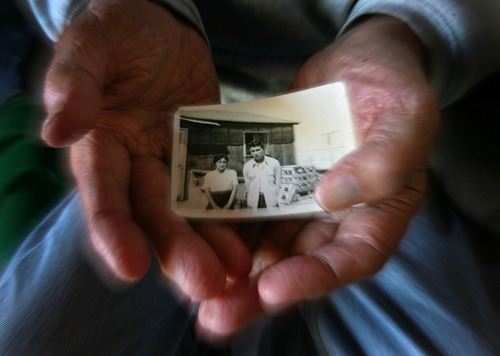 Steve Griffin |  The Salt Lake Tribune George Murakami holds a picture of himself and his mother, Kogiku Murakami, inside Topaz, the internment camp for Japanese Americans northwest of Delta. After working in Michigan and serving a stint in the Army, he returned to Utah, married and raised a family.