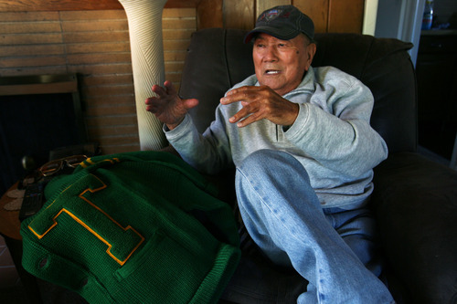 Steve Griffin |  The Salt Lake Tribune George Murakami, with his varsity sweater, talks about his time in Topaz, the internment camp for Japanese Americans northwest of Delta, from his home in Rose Park, Utah Tuesday September 4, 2012. The camp opened 70 years ago, and some of the camp's residents stayed in Utah permanently, affecting the Japanese American community. Murakami married and raised a family  in Utah.