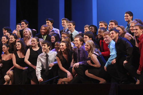Courtesy photo Sixty teenagers -- including Utahn Malia Morley (front row, center) perform at the Jimmy Awards.