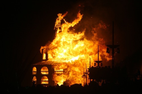 Rick Egan  | The Salt Lake Tribune  Flames engulf The Burning Man Saturday night, Sept. 1, 2012, during Burning Man 2012 in the Black Rock Desert, Nev.