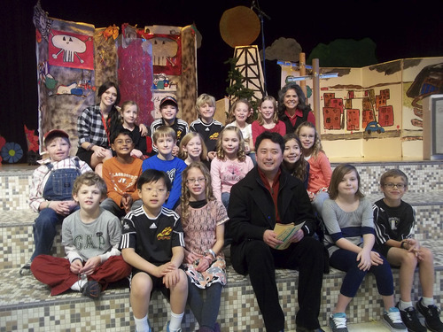 Music composer Masa Fukuda assists Bonneville Elementary students in producing the