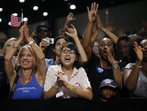 Supporters listen to President Barack Obama speak at a campaign event at West Palm Beach County Convention Center, Sunday, Sept. 9, 2012, in West Palm Beach, Fla. (AP Photo/Pablo Martinez Monsivais)