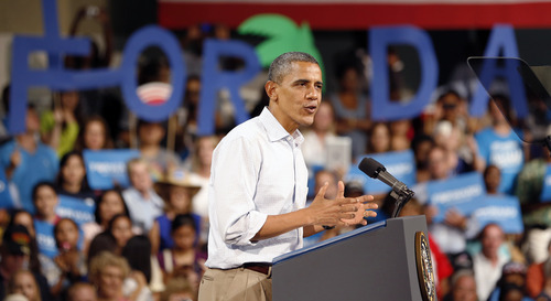 President Barack Obama speaks at the Palm Beach County Convention Center in West Palm Beach, Fla., Sunday, Sept. 9, 2012. (AP Photo/Terry Renna)
