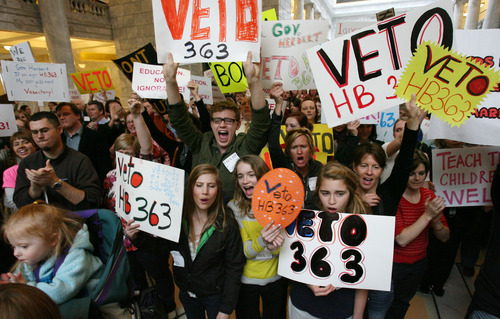 Steve Griffin  |  Tribune file photo  Hundreds of people rallied in the state capitol rotunda, in Salt Lake City, Utah on March 14, 2012, to urge Utah governor Gary Herbert to veto HB363, the sex education bill.