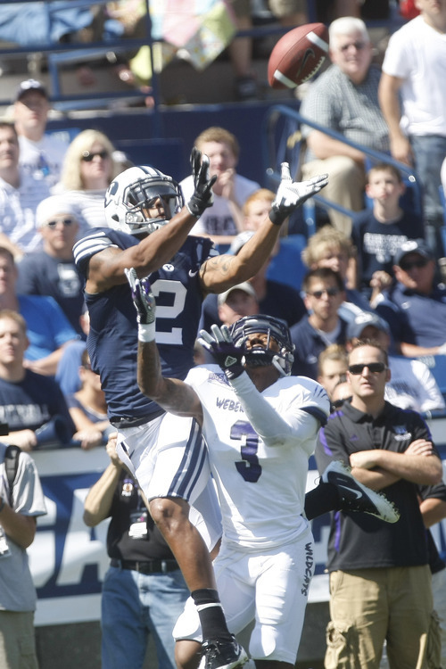 Chris Detrick  |  The Salt Lake Tribune Brigham Young Cougars wide receiver Cody Hoffman (2) makes a touchdown catch past Weber State Wildcats cornerback Devin Pugh (3) during the first half of the game against Weber State at LaVell Edwards Stadium Saturday September 8, 2012. BYU is winning the game 21-0.