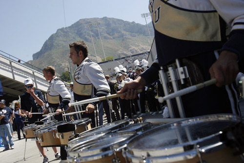 Chris Detrick  |  The Salt Lake Tribune Members of the BYU marching band perform before the game against Weber State at LaVell Edwards Stadium Saturday September 8, 2012.