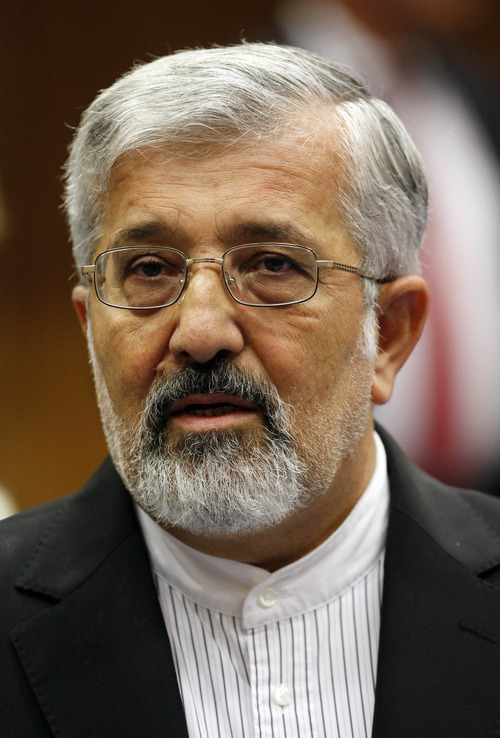 Iran's Ambassador to the International Atomic Energy Agency, IAEA, Ali Asghar Soltanieh waits for the start of the IAEA board of governors meeting at the International Center in Vienna, Austria, Wednesday, Sept. 12, 2012. (AP Photo/Ronald Zak)