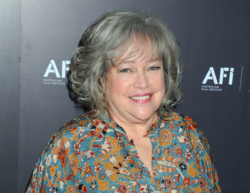 FILE - This Jan. 27, 2012 file photo shows actress Kathy Bates arriveing at the Australian Academy of Cinema and Television Arts Awards at the Soho House, in Los Angeles. Bates says she is recovering from a double mastectomy. The Oscar-winning actress tweeted on Wednesday, Sept. 12, that she was diagnosed with breast cancer two months ago. But in a separate post, she said she doesn't miss her breasts as much as