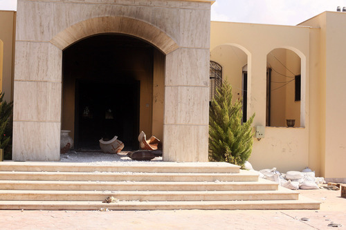 Damages after an attack on the U.S. Consulate by protesters angry over a film that ridiculed Islam's Prophet Muhammad in Benghazi, Libya, Wednesday, Sept. 12, 2012. The U.S. ambassador to Libya and three other Americans were killed. (AP Photo/Ibrahim Alaguri)