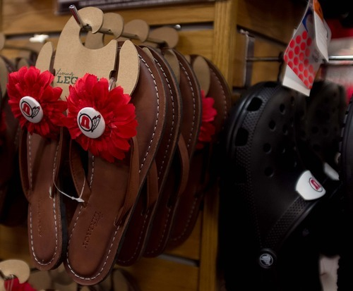 Trent Nelson  |  The Salt Lake Tribune These flip-flops are one of the many University of Utah-branded items for sale at the university's bookstore in Salt Lake City.