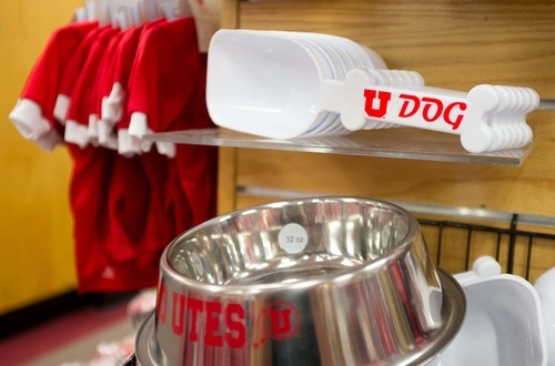 Trent Nelson  |  The Salt Lake Tribune Clothes and other pet items are some of the University of Utah-branded items for sale at the university's bookstore in Salt Lake City.