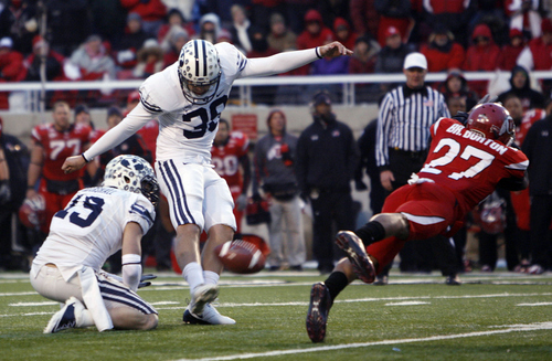 Trent Nelson  |  The Salt Lake Tribune  Utah cornerback Brandon Burton blocks a field goal attempt by BYU kicker Mitch Payne at Rice-Eccles Stadium in 2010. The final score was Utah 17-BYU 16.