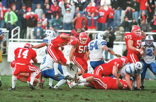 Utah kicker Ryan Kaneshiro jumps in frustration after missing a short field goal that would have given Utah a win over BYU in 1998. Courtesy of University of Utah Athletics