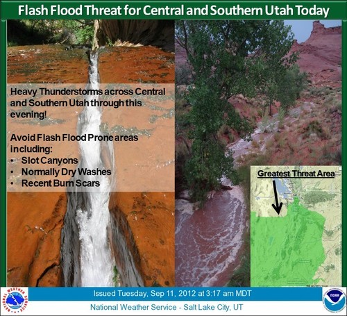 The National Weather Service has issued a flash flood warning for central and southern Utah. St. George has already seen heavy rain this morning.