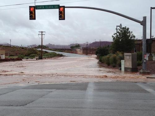 Flooding in Santa Clara, Utah. Photo courtesy St. George Police.