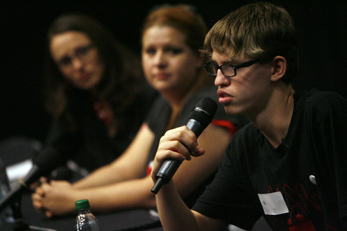 Francisco Kjolseth  |  The Salt Lake Tribune Alex Libby, 15, right, answers questions from Utah middle school students following a screening of the film
