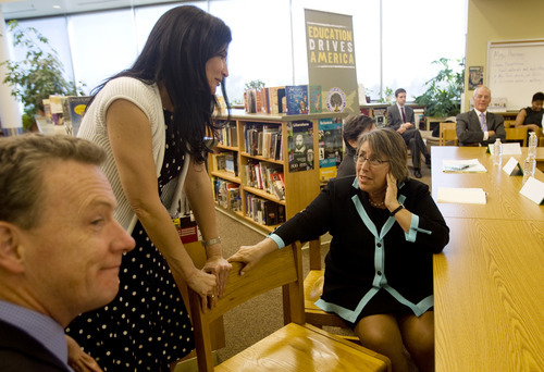 Kim Raff   The Salt Lake Tribune (right) U.S. Under Secretary of Education Martha Kanter talks with Lily Eskelsen, vice president of the National Education Association before a roundtable at  Glendale Middle School, one of many stops on the Education Department's 2012 cross-country, back-to-school bus tour,