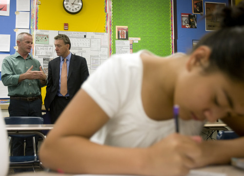 Kim Raff   The Salt Lake Tribune (right) U.S. Department of Education Assistant Secretary Peter Cunningham talks with Glendale Middle School principle Chris Gestland during a tour of Glendale Middle School which is one of many stops on the Education Department's 2012 cross-country, back-to-school bus tour,