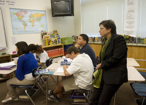 Kim Raff   The Salt Lake Tribune U.S. Education Chief of Staff Joanne Weiss listens in on an 8th grade reading class during a visit to Glendale Middle School, one of many stops on the Education Department's 2012 cross-country, back-to-school bus tour,