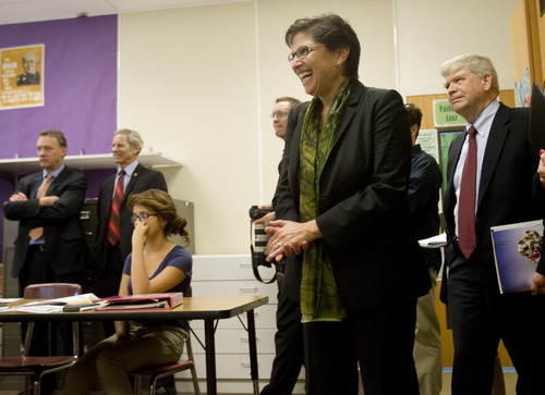 Kim Raff   The Salt Lake Tribune U.S. Education Chief of Staff Joanne Weiss listens in on an 8th grade math class during a visit to Glendale Middle School, one of many stops on the Education Department's 2012 cross-country, back-to-school bus tour,