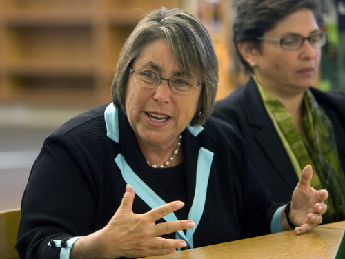 Kim Raff   The Salt Lake Tribune U.S. Under Secretary of Education Martha Kanter talks during a roundtable discussion on education at Glendale Middle School, one of many stops on the Education Department's 2012 cross-country, back-to-school bus tour,