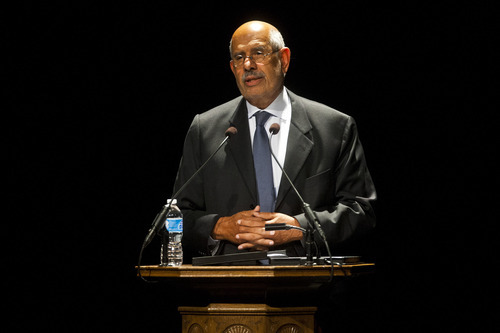 Chris Detrick  |  The Salt Lake Tribune Mohamed ElBaradei, Nobel Peace Prize Laureate and former director of the International Atomic Energy Agency, speaks at Kingsbury Hall at the University of Utah Thursday September 13, 2012.  ElBaradei's lecture is titled