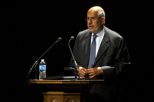 Chris Detrick  |  The Salt Lake Tribune Mohamed ElBaradei, Nobel Peace Prize Laureate and former director of the International Atomic Energy Agency, speaks at Kingsbury Hall at the University of Utah Thursday September 13, 2012.  ElBaradei's lecture is titled