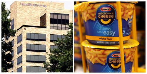 (AP Photo) Effective Sept. 24, Kraft Foods will be replaced by United Health because, among other things, Kraft is about to become a much smaller company, after it spins off its North American grocery business.