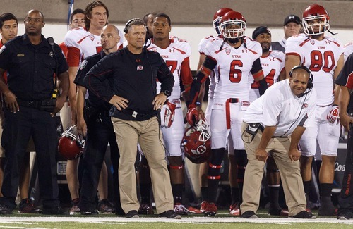 Trent Nelson  |  The Salt Lake Tribune Utah coach Kyle Whittingham watches a last-second field goal miss that led to an overtime loss against Utah State in Logan on Friday, Sept. 7, 2012.